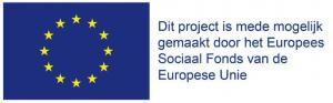 Vlag EU met tekst Dit project is mede mogelijk gemaakt door het Europees Sociaal fonds van de Europese Unie